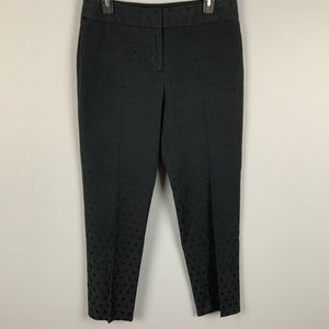 Black Polka Dot Ankle Crop Career Pants Talbots